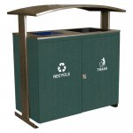 Ellipse Series Large Capacity Two Steam Trash Receptacle - Malachite