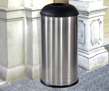 International Collection Stainless Steel Waste Receptacle with Black Lid - 18 Gallon Capacity