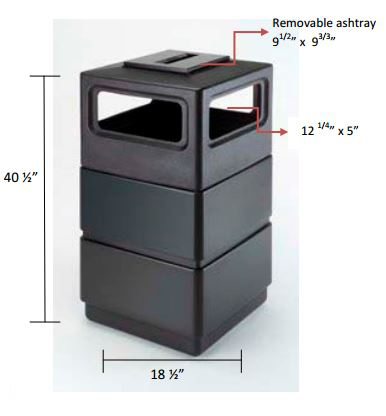 38 Gallon Three-Tier with Ashtray Specifications