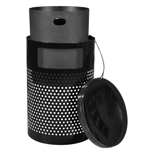 Landscape Series Large Capacity Outdoor Trash Receptacle - Lid and Liner View