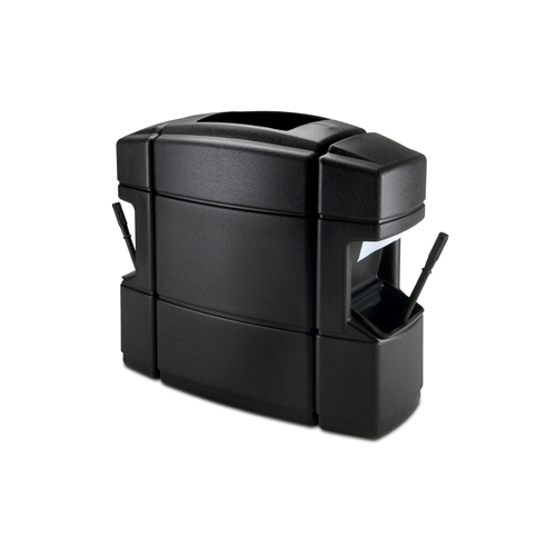 Waste N Wipe Isle Combination Double Sided 40 Gallon Waste Receptacle and Windshield Service Station - Black
