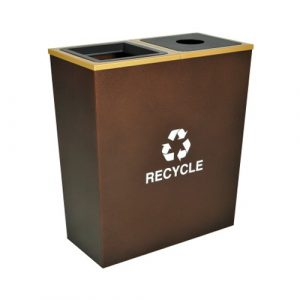 Metro Collection Two Stream Tapered Recycling Receptacle with 36 Gallon Capacity - Hammered Copper